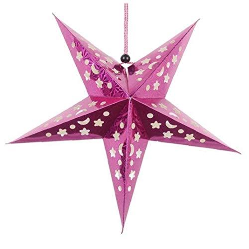 Rrunzfon 45cm Paper Star Lantern 3D Pentagram Lampshade Ornamente hängende Lampe für Weihnachtsfest-Geburtstag Startseite hängend
