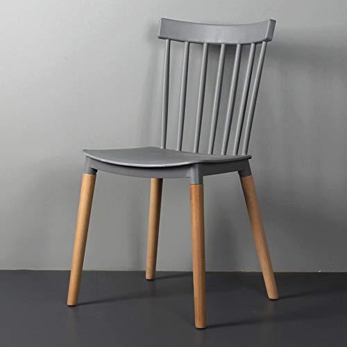 QYN Satz Von 4 Freizeit Zurück Essensstuhl,einfacher Windsor Stuhl Esszimmerstuhl Wasserdichtes Langlebiges Lager Stark Beistellstuhl Mit Massivem Holz Beine-grau 48x48x84cm(19x19x33inch)