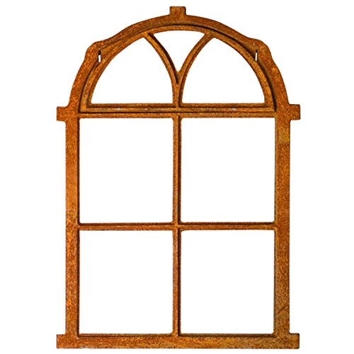 aubaho Fenêtre à barreaux avec Ouverture - Fer forgé/Rouille - Style Antique 54x77cm