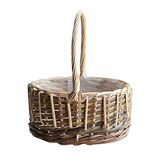 YANLI2233 Picnic Basket Manejar Mimbre Picnic Cesta Hecho a Mano Maceta casero Boda Fiesta Decorativo decoración Tejido jardín Almacenamiento cesto Mimbre