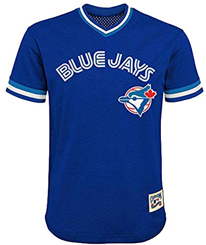 MLB Youth 8-20 Mesh Team Color Cooperstown V-Neck Jersey (Small 8, Toronto Blue Jays Blue)
