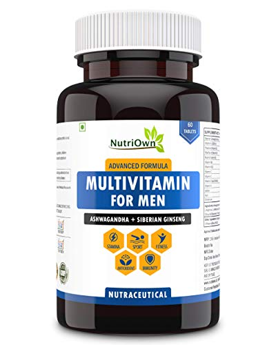 NutriOwn Multivitamins for Men Daily Tablets – Natural Supplements Aswagandha and Ginseng for Immunity, Sports, Stamina and Fitness – 46 Ingredients, 60 Veg Tablets (Pack of 1)
