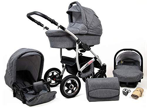 Lux4Kids Kinderwagen 3 in 1 Kombi Komplettset mit Autositz Isofix 2in1 Babywanne Babyschale Buggy Buggy Baby Larmax Grey Flex 2in1 ohne Babyschale
