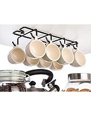 Vardesing Colgador para Tazas 8 Ganchos Soporte Bajo Balda de Mueble y Armario de Cocina Organizador Sujeción por Tornillos Lacado Negro