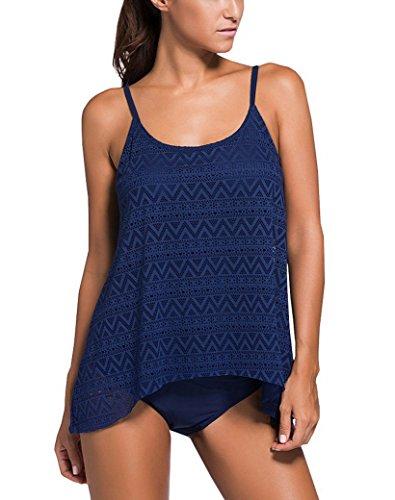 Evedaily Damen Badeanzug Zweiteilig Schwimmanzug Elegantes Push UP Bikini/Tankini Top-Modell Swimsuit für Damen & Mädchen, XXXL EU ( 46-48 ), Farbe: dunkle Blau