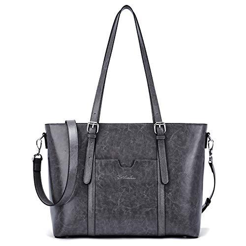 BOSTANTEN Damen Ledertaschen Schultertasche Frauen Designer Handtasche 14 15.6 Zoll Laptoptasche Tote Bag Dunkel Grau