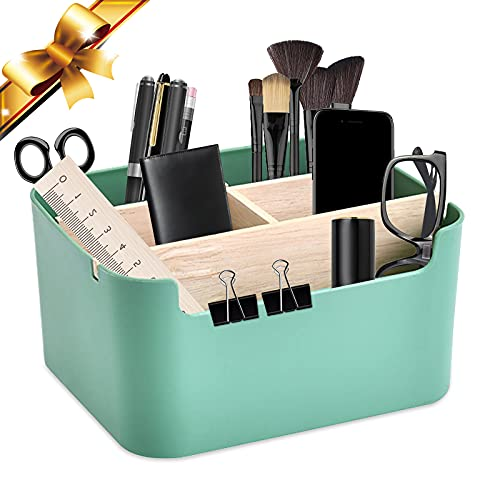 Organizador Escritorio Multiusos, Soporte de madera para control remoto de escritorio Lápiz de escritorio de madera, para tijeras teléfono móvil gafas mando a distancia (verde)
