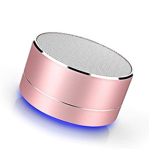 Colorido mini altavoz Bluetooth pequeño cuerpo fuerte voz altavoz inalámbrico con graves mejorados para el hogar viajes al aire libre, recargable (rosa)