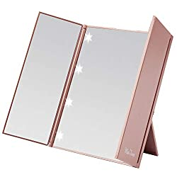 """Size: 6"""" * 10""""when all folded open. 4.9"""" * 6.1"""" when all folded closed 8pcs led lights.Light powered by CR2032*2 battery(included for testing).Please replace a new battery if it's necessary Compact mirror Travel mirror Glass mirro"""