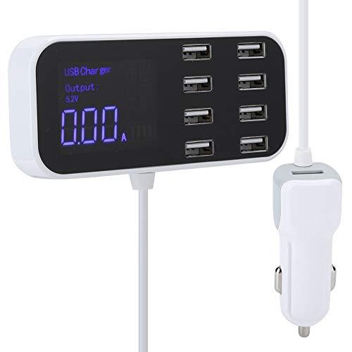 Cargador Rápido para Automóvil con Múltiples USB, Estación de Carga Tipo C de 8 Puertos, con Pantalla LCD para Teléfonos Inteligentes, Tableta