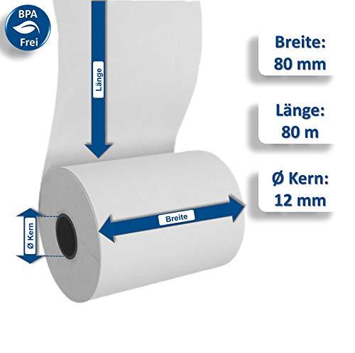 50 Thermorollen 80mm x 80m x 12mm - Bonrollen 80m lang - Thermopapier - Kassenrollen 80mm - 50 Stueck