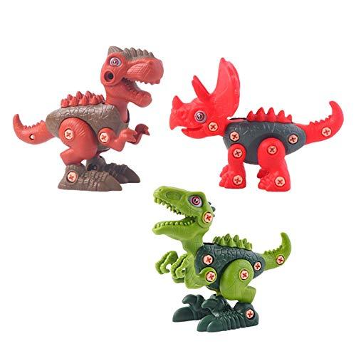 Take Apart Dinosaur Toys, juego de juguetes educativos de construcción de bricolaje, paquete de 3 juegos de dinosaurios con taladro eléctrico, incluye Tyrannosaurus Rex, Velociraptor y Triceratops