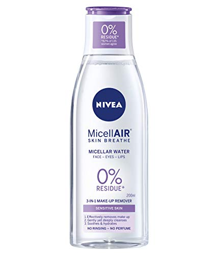 NIVEA MicellAIR Skin Breathe Micellar Water (200 ml), 3-in-1 Sensitive Make...
