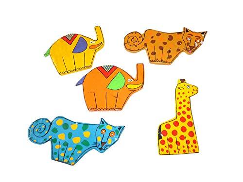 Lot de 5 Afrique et Zoo animaux Aimants en tant que pièce unique – Fais dekomagnete fabriqué à la main, Idée de Cadeau, décoration chambre d'enfant en carton, einzelstücke