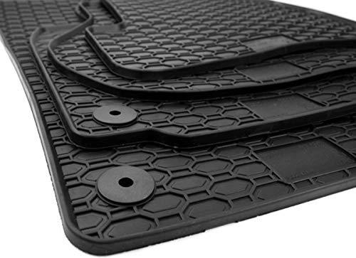 kfzpremiumteile24 Gummimatten Premium Qualität Fußmatten Gummi schwarz 4-teilig Druckknopf rund