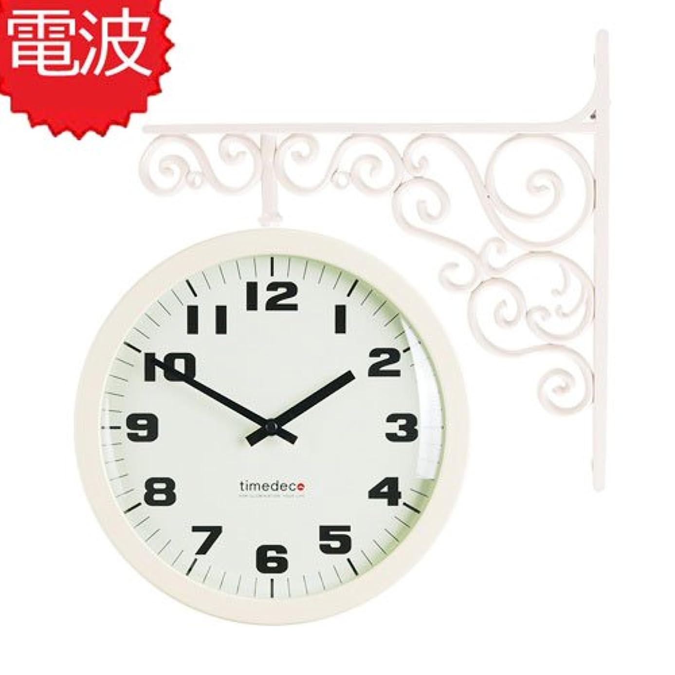 廊下クールペチュランス両面電波時計 両面時計 Classic Double Clock A(IV) おしゃれな 低騷音 インテリア 両面壁掛け時計 電波両面時計