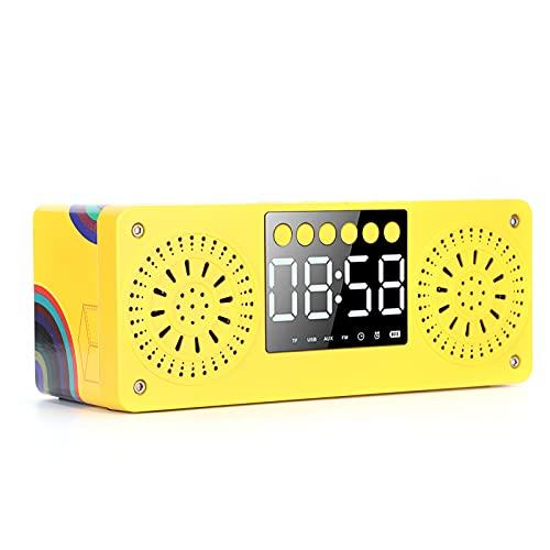 Lazimin Altavoz Bluetooth portátil, Caja de Sonido de Reloj Despertador de Graves estéreo inalámbrico de 360 °, Ajuste automático de Brillo, Altavoz de Tarjeta enchufable(Amarillo)