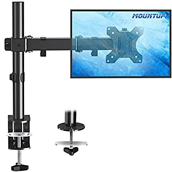 MOUNTUP Single Monitor Desk Mount Height Adjustable Computer Monitor Stand Mount Full Motion Monitor Arm Desk Mount Fits 13 to 27 Inch Screens with C-Clamp and Grommet Base VESA 75x75/100x100