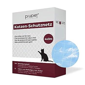 PiuPet® Filet de Protection pour Chat (Transparent) | avec Corde de Fixation | Extra Large | Filet de sécurité de Haute qualité pour Balcon & fenêtres (4 x 3 m, Transparent)
