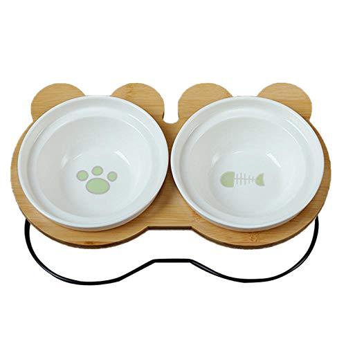 GVRPV Cuenco para Mascotas Estante de bambú Cuencos de cerámica para Comer y Beber para Perros y Gatos Cuenco para Perros Lindo Accesorios para alimentador de Mascotas-Gas_Picture