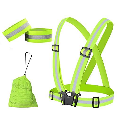 PiAEK Reflektierende Weste, Warnweste Reflektorband mit Hohe Sichtbarkeit, Verstellbare Reflektorweste für Laufen, Joggen, Wandern, Radfahren, Fahrrad Sicherheitsweste für Kinder Erwachsene