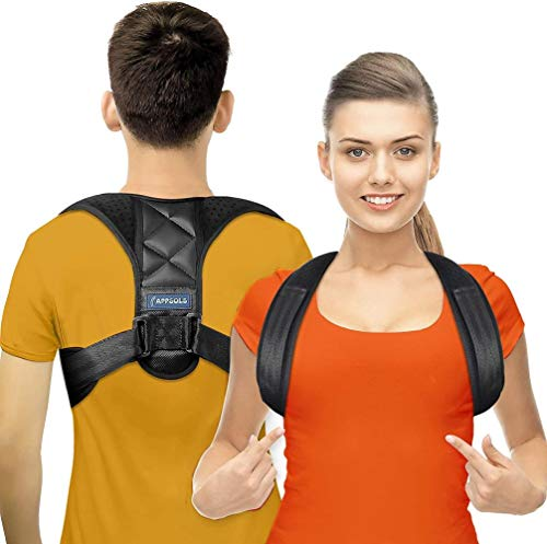 xmwm landia Posture corrector for men and women - effective for neck, back and shoulder pain - lumbar support - upper back extensor with adjustable, breathable collarbone support