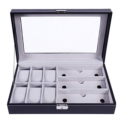 QWSNED Caja de almacenamiento de relojes, caja de almacenamiento de exhibición de joyas, organizador de gafas de sol, caja de almacenamiento universal para hombres y mujeres