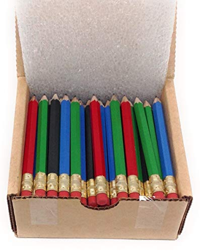 Half Pencils with Eraser - Golf, Classroom, Pew - #2 Hexagon, Sharpened, Box of 72. Color: Four Mixed Classic