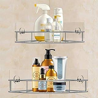 Support de douche adhésif Organisateur Rangement de salle de bain Acier inoxydable Triangle Support de douche de salle de ...