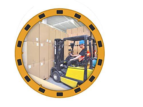 EUvex industriële spiegel, Ø 80 cm, geel/zwart, 1