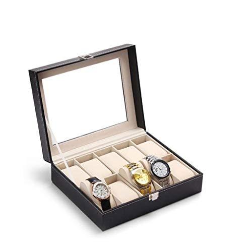 SMEJS Schmuck-Box-Vintage Wood Uhr-Anzeigen-Speicher-Fall-Kasten mit Glasplatte hält mit verstellbaren weichen Kissen