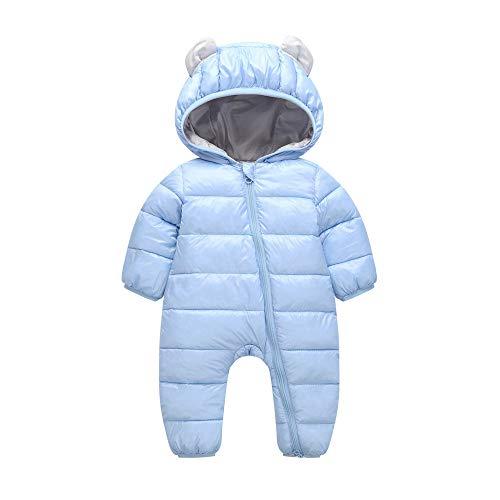 Kobay Baby Jungen Mädchen Kinder Strampler Kinder Winter Dicke Winter Warme Overall Oberbekleidung(0-6M,Blau)