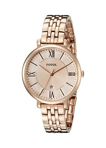 Fossil Women's Jacqueline Quartz Stainless Three-Hand Watch, Color: Rose Gold (Model: ES3435)