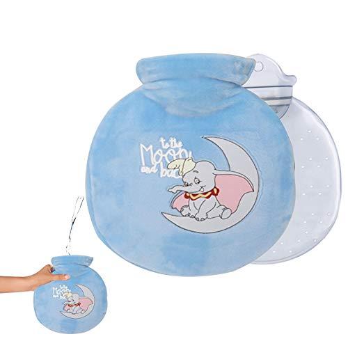 Bolsa de agua caliente para niños, con funda, bolsa de agua caliente, extraíble y lavable, con funda de punto lavable, diseño de elefante azul claro