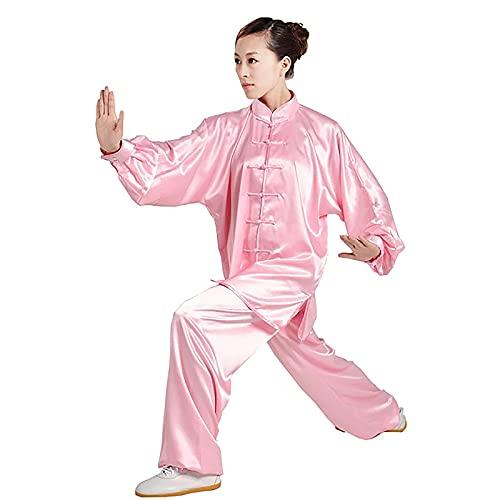 ZLZNX Trajes tradicionales de taichi para mujer, de seda elástica, ropa tradicional de kung fu, de manga larga, uniforme de kung fu, ropa de yoga para la mañana, color rosa, XXL