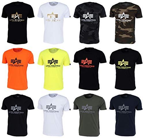 ALPHA INDUSTRIES Herren Basic Reflective Print T-Shirt, Black, M