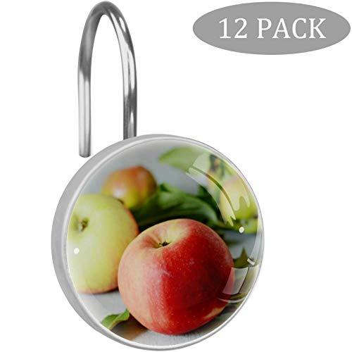 N A Fresh Apple Fruits Close Up Saftige rote Äpfel mit grünen Blättern Duschvorhang-Haken aus klarem Kristallglas Art dekoratives Badezimmer Set