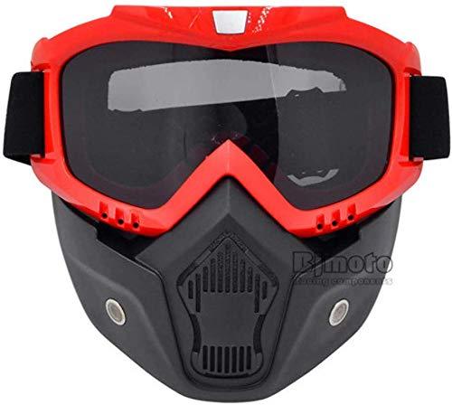 Zghzsc Fahrradbrillen Ski Snowboard Motocross Goggles Motorrad Abnehmbare Gläser for Open Face Weinlese-Halbhelm Googles mit Maske einen.Kreislauf.durchmachenabnutzung (Color : Model 3)
