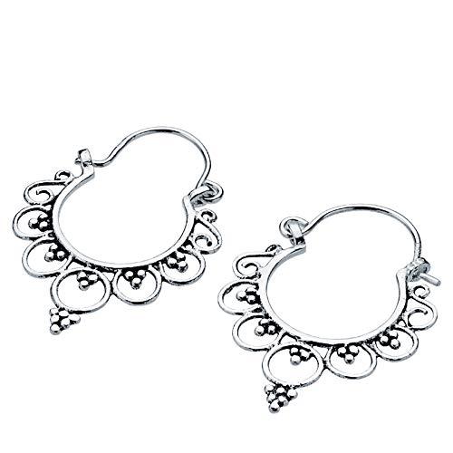 Iyé Biyé Jewels - Pendientes aros 25 x 22 mm niña mujer plata de ley 925 estilo étnico envejecido cierre gancho