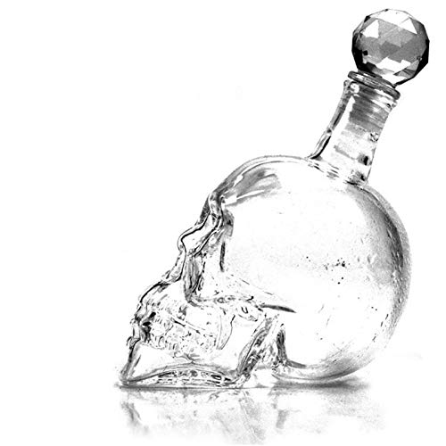 Skull Shaped Wine Decanter Glass Bottle Crystal Skull Head Vodka Beer Whiskey Shot Glasses Bottle Cups Bar Home Decoration Design Unique Bar Suppli 0315 (Capacity : 550ML, Color : Clear)