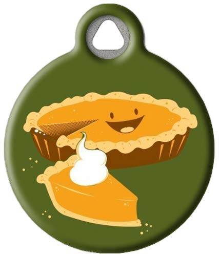 Dog Tag Art Pumpkin Pie Custom Pet ID Tag for Dogs (Small), Cute, Funny Thanksgiving-Themed Dog Tags and Cat Tags, Durable Personalized Dog Tags with Customized Identification Information