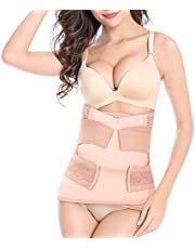 Postpartum Belly Wraps, 3 in 1 Postnatal Corset Girdle After Birth Belly Band Abdominal Binder Waist Pelvis Belt for Recover from Pregnancy, C Section Surgery, Plus Size