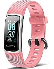 Fitfort Fitnessarmband met hartslagmeter, IP68, waterdicht, fitnesstracker, stappenteller, slaapmonitor, zittende herinnering, activiteitentracker, dames, heren, oproepen, sms, SNS