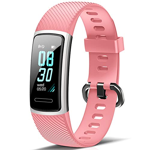 FITFORT Fitness Armband mit Pulsmesser- IP68 Wasserdicht Fitness Tracker Smartwatch, schrittzähler, Schlafüberwachung,Sitzende Erinnerung Aktivitätstracker,Damen Herren Anruf SMS SNS Beachten, Rosa