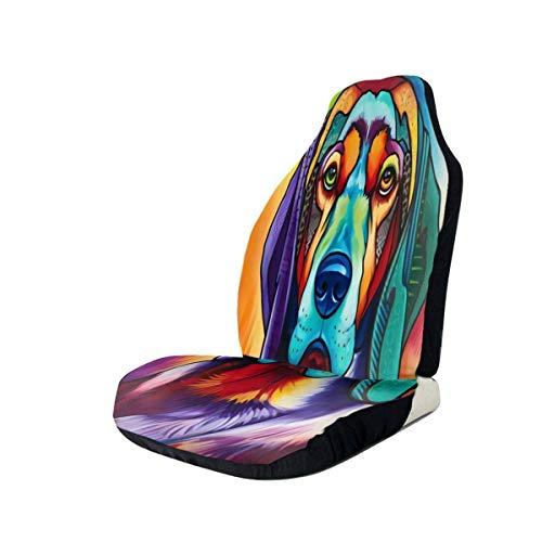 Qinckon - Funda para asiento de coche, diseño de perro colorido compatible con la mayoría de los a
