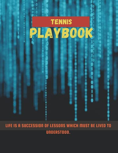 Tennis Playbook, Stream binary matrix code numbers screen 3d rendering cover, 100 pages - Large(8.5 x 11 inches)