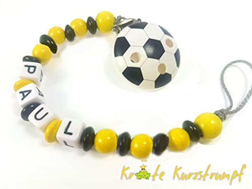 Schnullerkette mit Namen für Jungen und Mädchen mit Fußball - schwarz, gelb