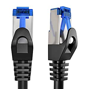 KabelDirekt – 20m – Ethernet, patch & network cable (transfers gigabit internet speed, ideal for 1Gbps networks/LANs, routers, modems, switches, RJ45 plug (silver), black)
