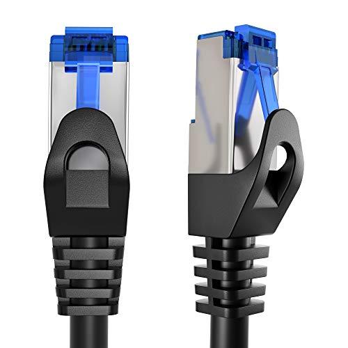 KabelDirekt – 1,8m – Cable de Ethernet y Cable de Parche/de Red (Conector RJ45, para máxima Velocidad de Fibra óptica, Ideal para Redes gigabit/LAN, Router/módems, Conectores Switch, Negro-Plata)