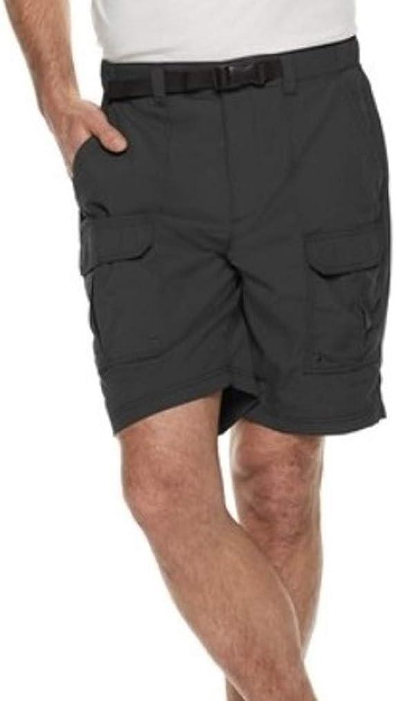 Men's Classic Fit Lightweight Outdoor Belted Side-Elastic Summer Cargo Shorts Black